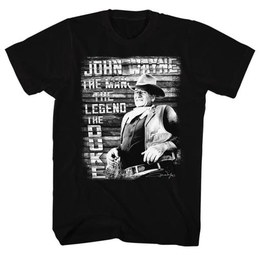 JOHN WAYNE-THE MAN LEGEND DUKE-BLACK ADULT S/S TSHIRT