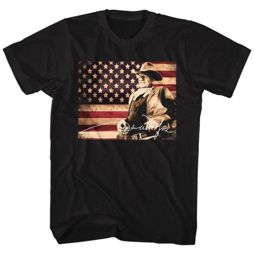 JOHN WAYNE-TIN SIGN-BLACK ADULT S/S TSHIRT
