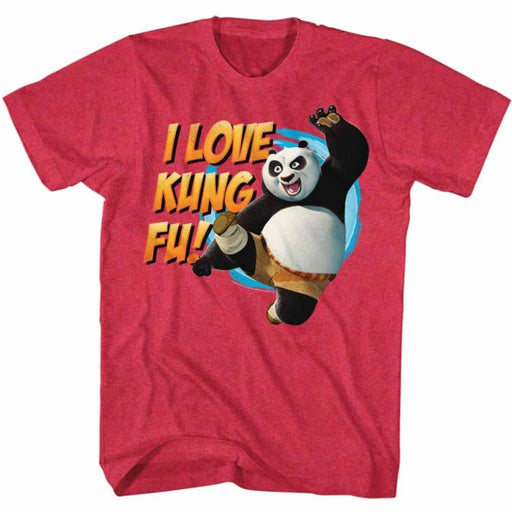 KUNG FU PANDAOVE KUNG FU-CHERRY HEATHER ADULT S/S TSHIRT