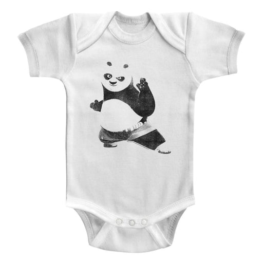 KUNG FU PANDATRIKE A POSE-WHITE INFANT S/S BODYSUIT