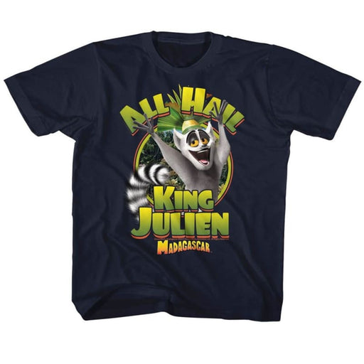 MADAGASCAR-KING JULIEN-NAVY YOUTH S/S TSHIRT