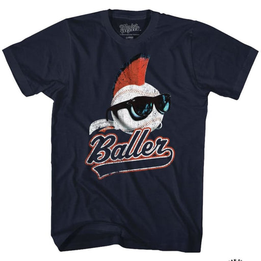 MAJOR LEAGUE-BALLER-NAVY ADULT S/S TSHIRT