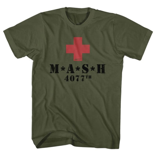 MASH-RED CROSSILITARY GREEN ADULT S/S TSHIRT
