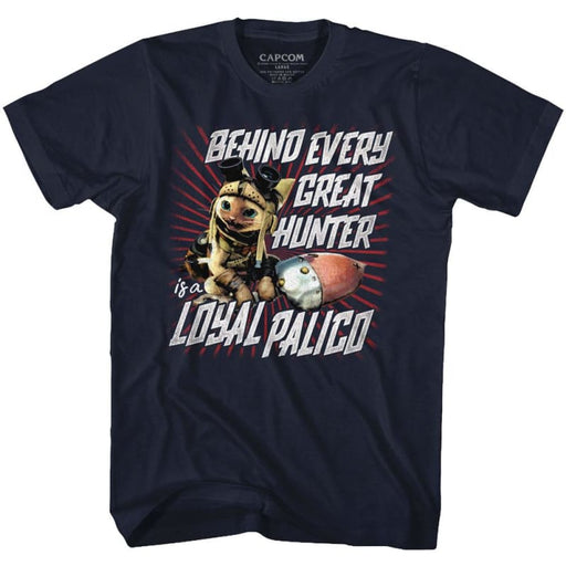 MONSTER HUNTEROYAL PALICO-NAVY ADULT S/S TSHIRT