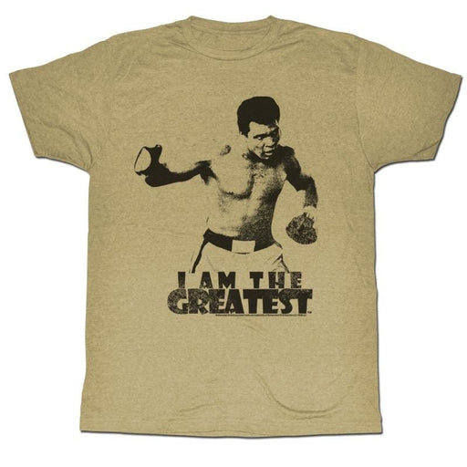 MUHAMMAD ALI-I AM THE GREATEST-KHAKI HEATHER ADULT S/S TSHIRT