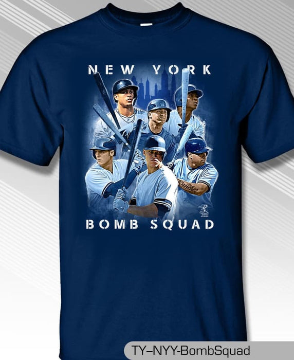 New York Yankees MLBPA NY Bomb Squad Youth Boys Cotton Tee Shirt Navy - Tshirt