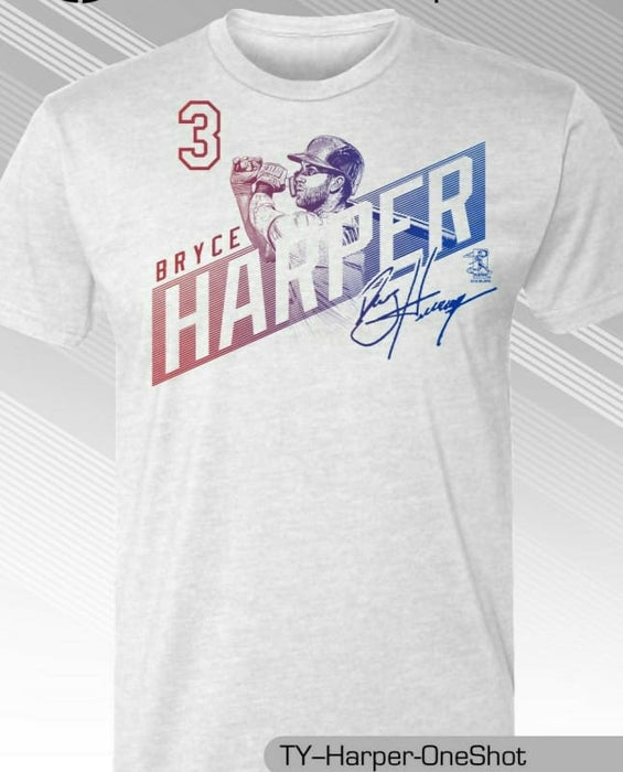 best website 98f79 a4999 Philadelphia Phillies MLBPA #3 Bryce Harper One Shot Youth Boys Tee Shirt  White