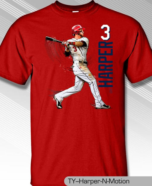 Philadelphia Phillies MLBPA BRYCE HARPER #3 N Motion Youth Boys Tee Shirt Red - Tshirt