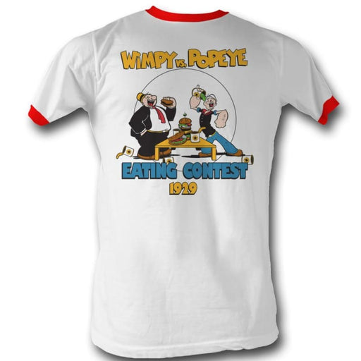 POPEYE-EATING CONTEST-WHITE/RED ADULT S/S RINGER TSHIRT
