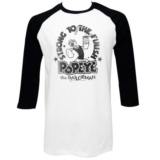 POPEYETRONG FINISH-WHITE/BLACK ADULT 3/4 SLEEVE RAGLAN