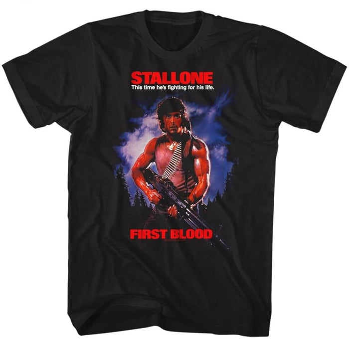 RAMBO-FIRST BLOOD-BLACK ADULT S/S TSHIRT