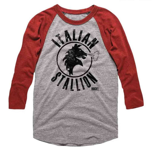ROCKYTALLION-GRAY HEATHER/VINTAGE RED ADULT 3/4 SLEEVE RAGLAN