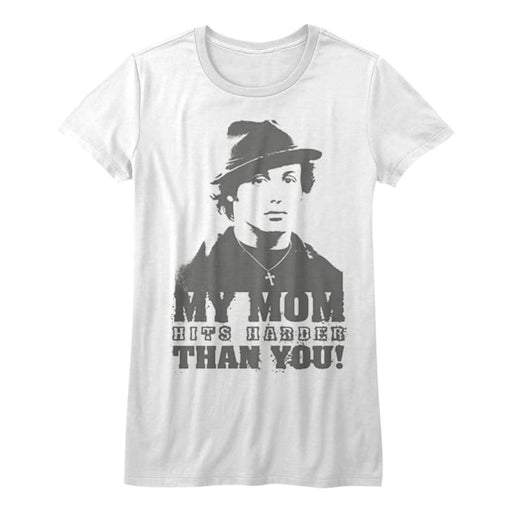 ROCKYY MOM HITS HARDER-WHITE JUNIORS S/S TSHIRT