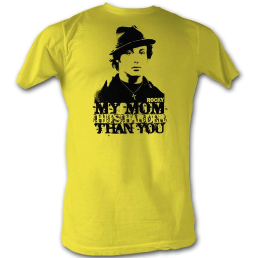ROCKYY MOM HITS HARDER-YELLOW ADULT S/S TSHIRT