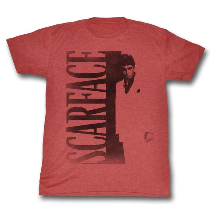 SCARFACECARFACE-RED HEATHER ADULT S/S TSHIRT