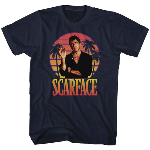 SCARFACEIAMI SUNSET-NAVY ADULT S/S TSHIRT