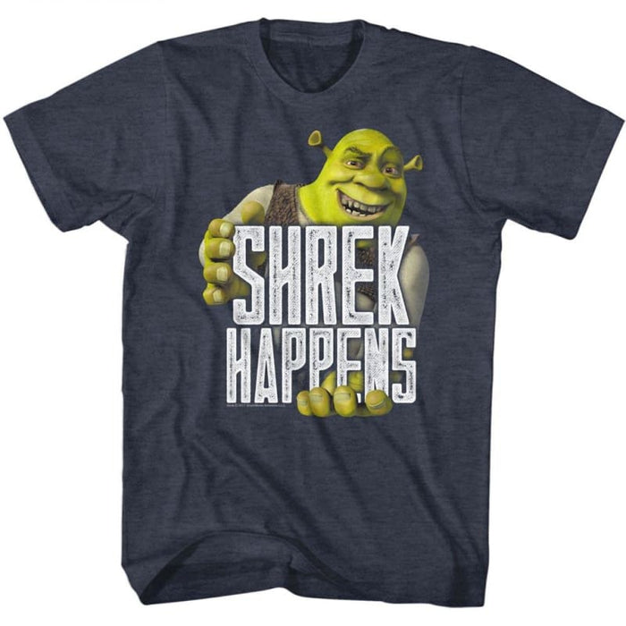 SHREK-HAPPENS-NAVY HEATHER ADULT S/S TSHIRT