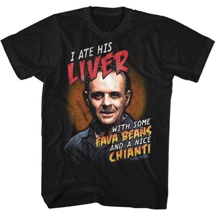 SILENCE OF THE LAMBS-FAVA BEANS AND CHIANTI-BLACK ADULT S/S TSHIRT