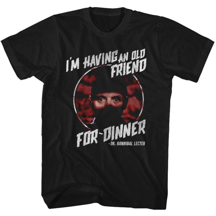 SILENCE OF THE LAMBS-FRIEND FOR DINNER-BLACK ADULT S/S TSHIRT