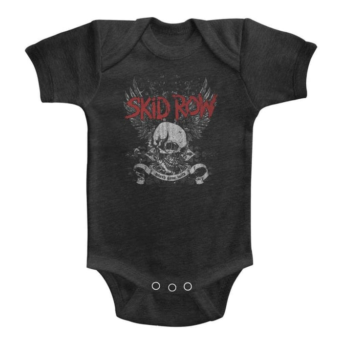SKID ROWKULL & WINGS-VINTAGE SMOKE INFANT S/S HEATHER BODYSUIT
