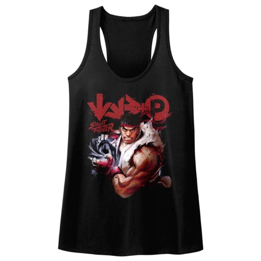 STREET FIGHTERORE-BLACK LADIES RACERBACK