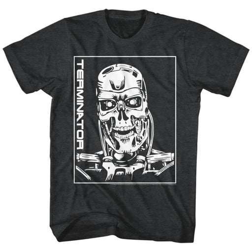 TERMINATORACHINE SKULL-BLACK HEATHER ADULT S/S TSHIRT