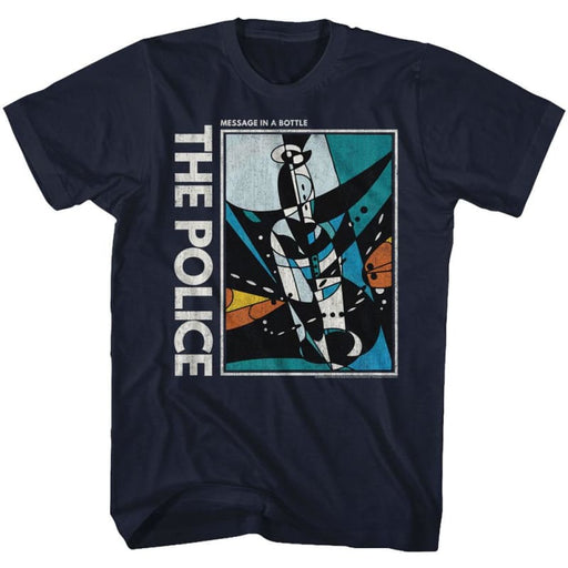 THE POLICEESSAGE IN A BOTTLE-NAVY ADULT S/S TSHIRT