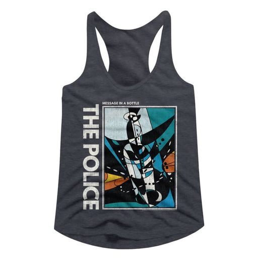 THE POLICEESSAGE IN A BOTTLE-NAVY HEATHER LADIES RACERBACK