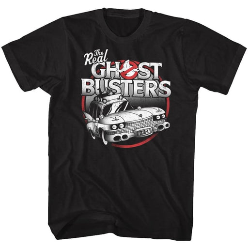 THE REAL GHOSTBUSTERS-THE CAR-BLACK ADULT S/S TSHIRT