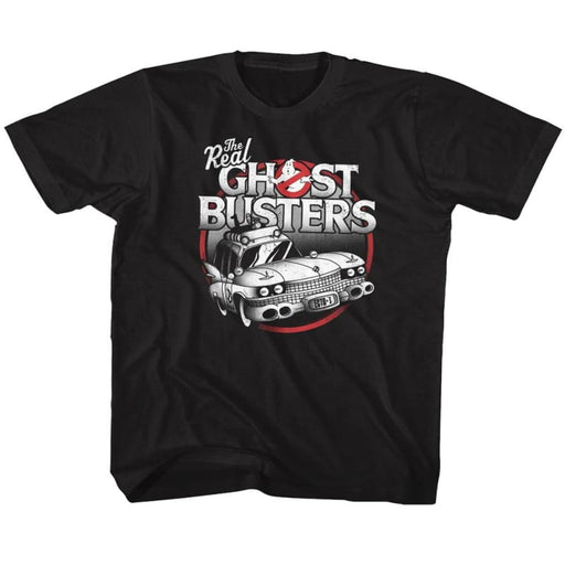 THE REAL GHOSTBUSTERS-THE CAR-BLACK YOUTH S/S TSHIRT