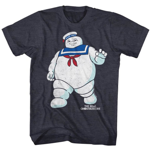 THE REAL GHOSTBUSTERSR STAY PUFT 2-NAVY HEATHER ADULT S/S TSHIRT