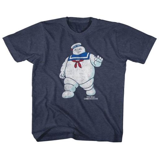 THE REAL GHOSTBUSTERSR STAY PUFT 2-VINTAGE NAVY YOUTH S/S TSHIRT