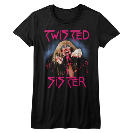 TWISTED SISTER-TWISTED DEE-BLACK JUNIORS S/S TSHIRT