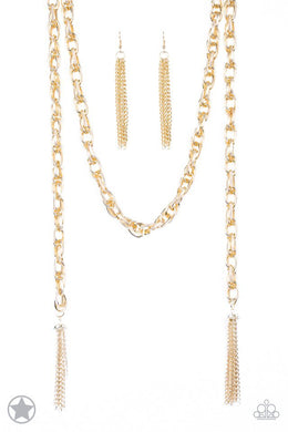 Paparazzi Blockbuster Necklace - SCARFed for Attention - Gold