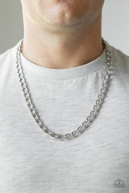 Men's Paparazzi Necklace ~ Big Win - Silver