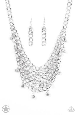 Paparazzi Blockbuster Necklace - Fishing for Compliments - Silver/White