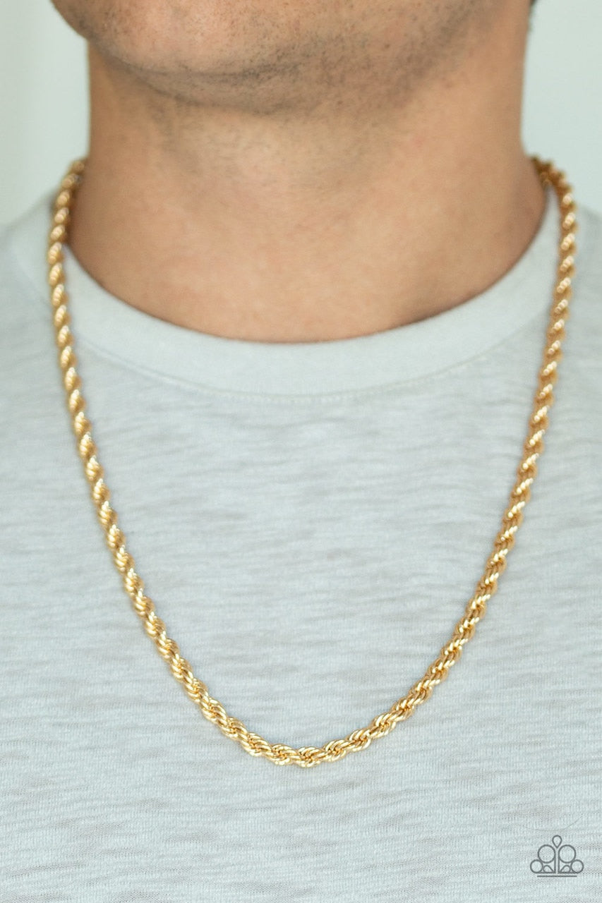 Men's Paparazzi Necklace ~ Double Dribble - Gold