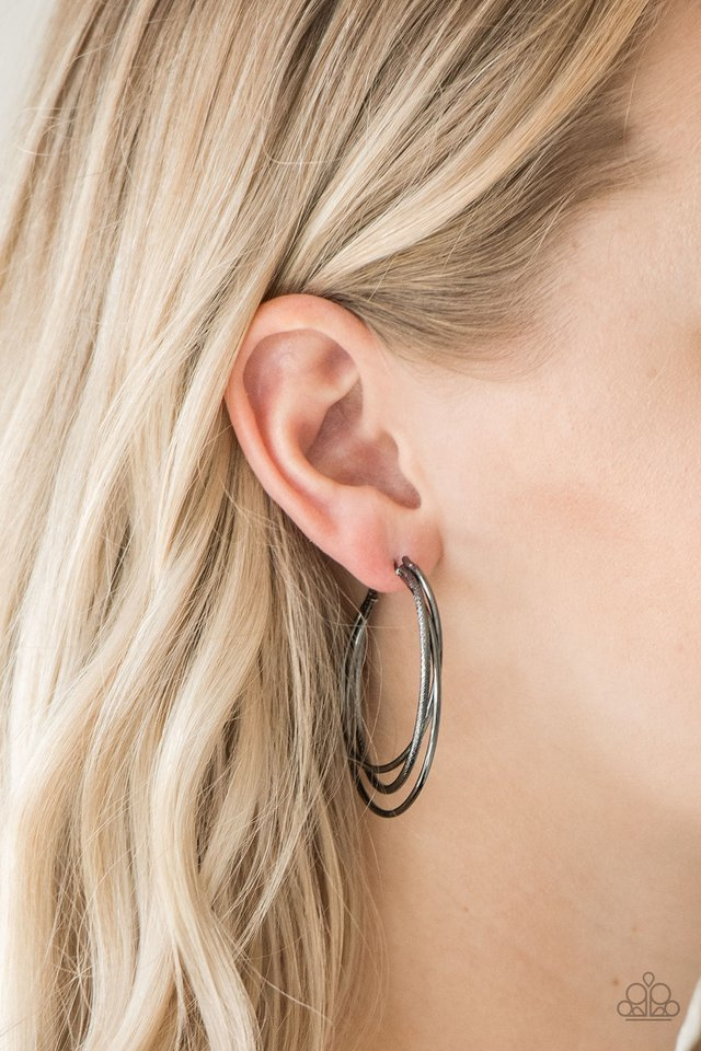 Paparazzi Earring ~ Jumpin Through Hoops - Black