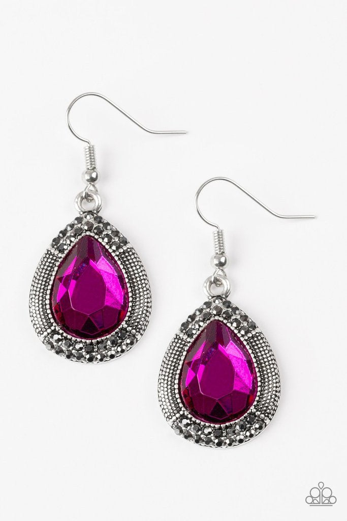 Paparazzi Earrings - Grandmaster Shimmer - Pink