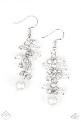 Paparazzi Earrings - Classy Crescendo - White