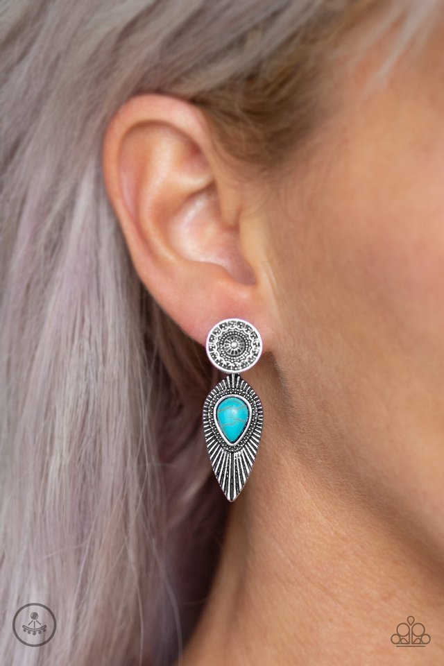 Paparazzi Earring ~ Fly Into The Sun - Blue