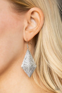 Paparazzi Earring ~ Texture Retreat - Silver