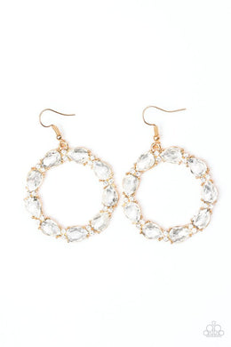 Paparazzi Earrings - Ring Around The Rhinestones - Gold