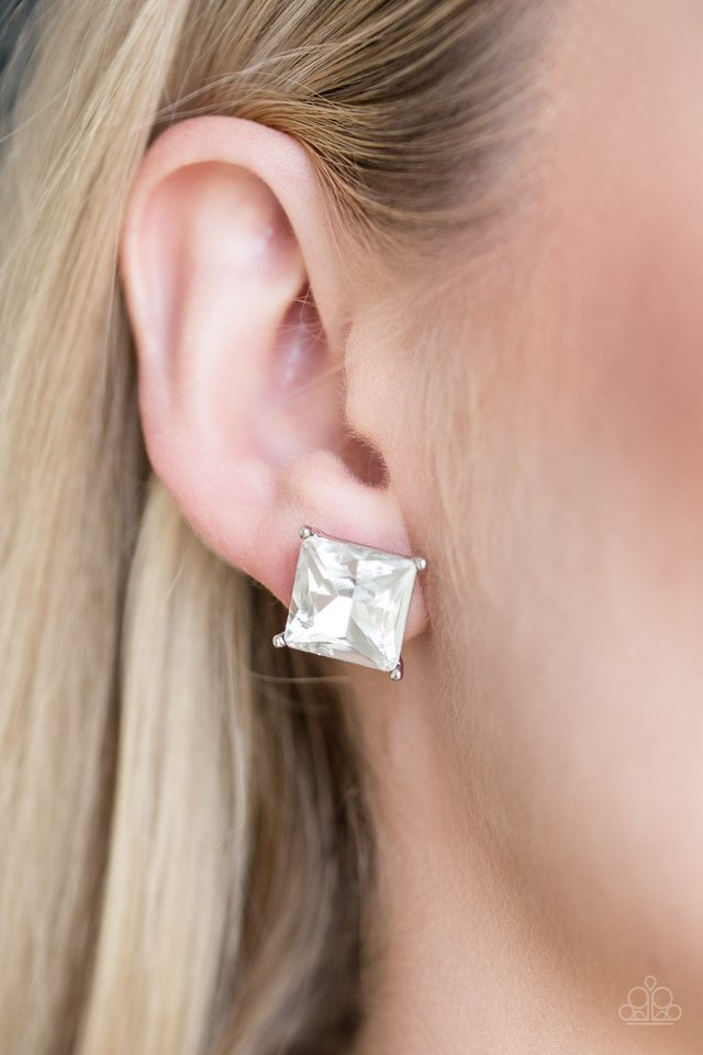 Paparazzi Earring ~ The Big Bang - White Post