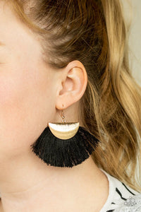 Paparazzi Earring ~ Fox Trap - Gold Black