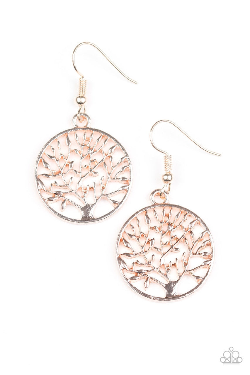 Paparazzi Earring ~ TREE Ring Circus - Rose Gold