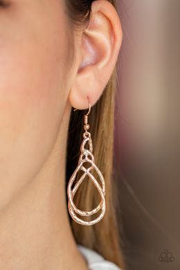 Paparazzi Earring ~ Twisted Elegance - Rose Gold