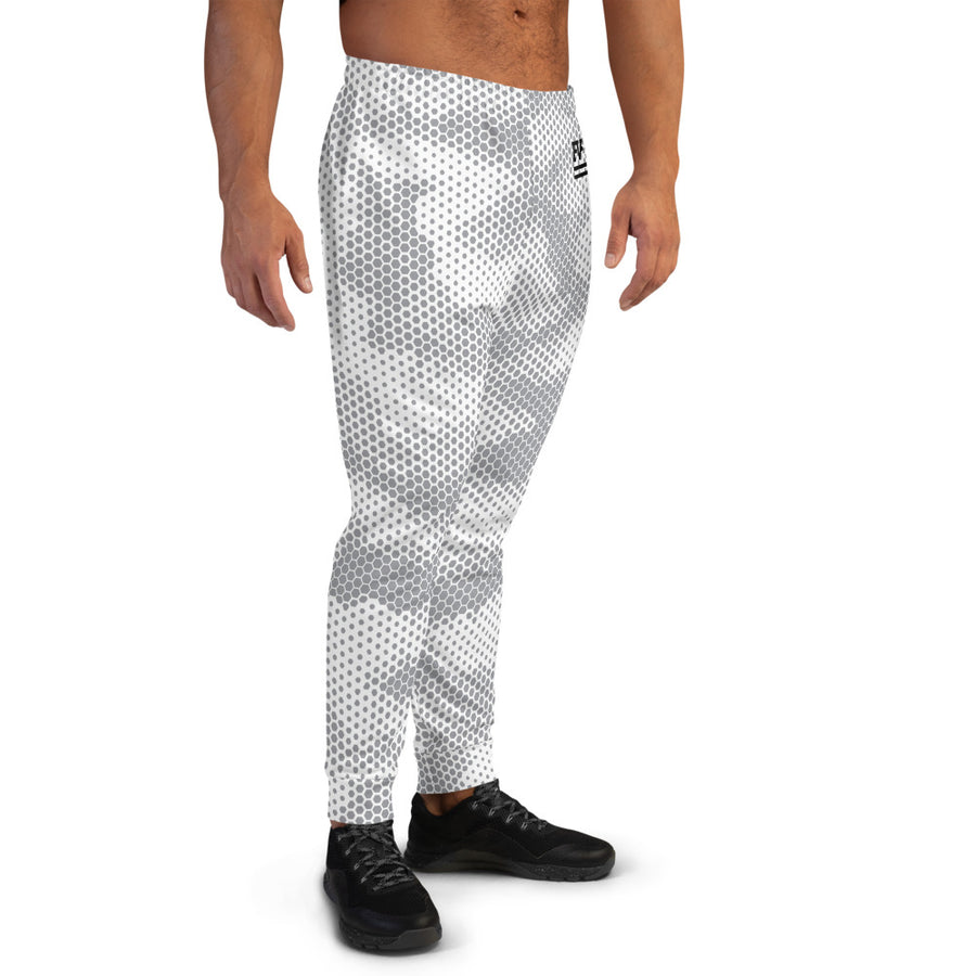 White Abstract Joggers