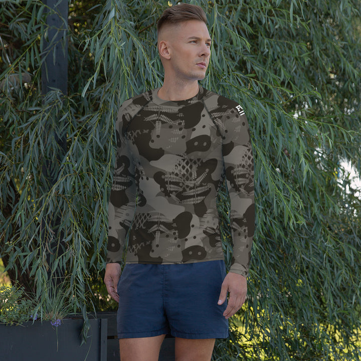 Brown Abstract Rash Guard