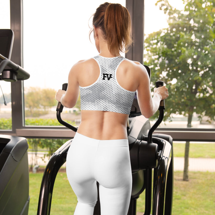 Abstract White Sports Bra